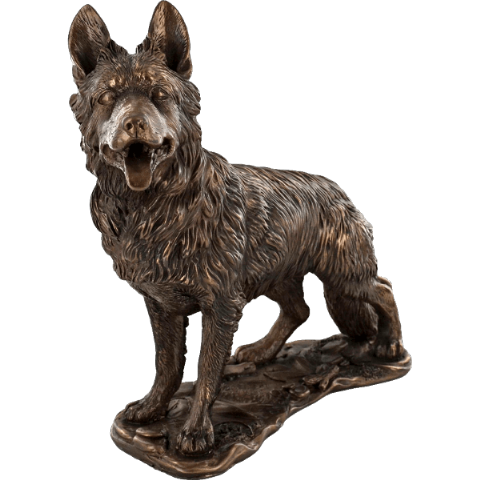 German Shepherd Cold Cast Bronze Dog Sculpture